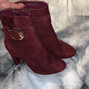 Wine color heel boots